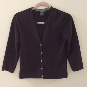 THEORY brown button down cotton cardigan